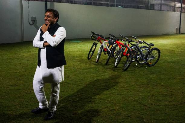 In this photograph taken on February 3 Uttar Pradesh state Chief Minister Akhilesh Yadav gestures as he stands in the garden inside his personal...