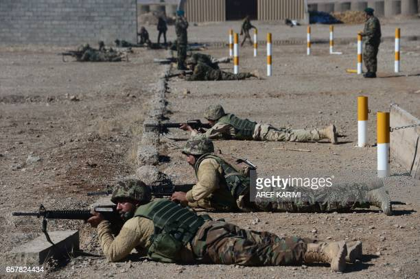 In this photograph taken on February 9 Afghan National Army soldiers are trained by Italian soldiers from NATO's Resolute Support Mission at a...