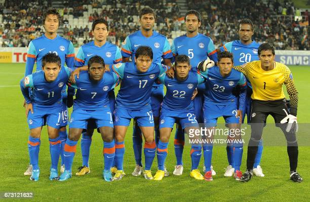 In this photograph taken on January 14 Indian goalkeeper Paul Subrata poses for a photograph alongside teammates ahead of their 2011 Asian Cup group...
