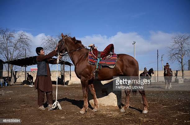 In this photograph taken on January 23 Afghan groom Motaleb leads a horse used to play the traditional sport of Buzkashi in MazariSharif in Balkh...