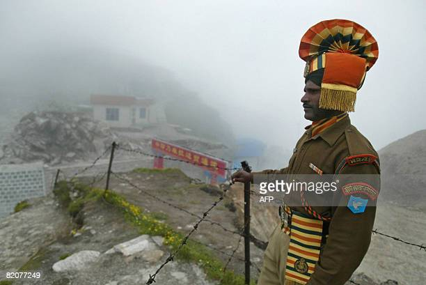 GUPTA 'INDIACHINADIPLOMACYTRADE' In this photograph taken on July 10 2008 an Indian soldier stands guard at the ancient Nathu La border crossing...