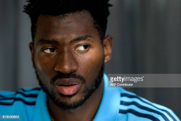 In this photograph taken on July 16 Olympique de Marseille's Cameroonian midfielder AndreFrank Zambo Anguissa speaks during an interview with AFP...