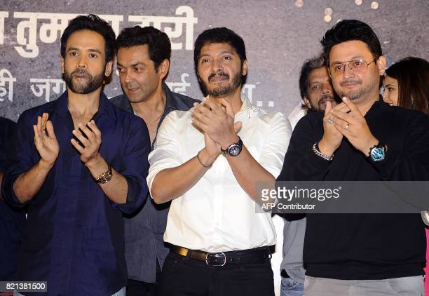 In this photograph taken on July 23 2017 Indian Bollywood actors Tusshar Kapoor Bobby Deol Shreyas Talpade and Swapnil Joshi attend the music launch...