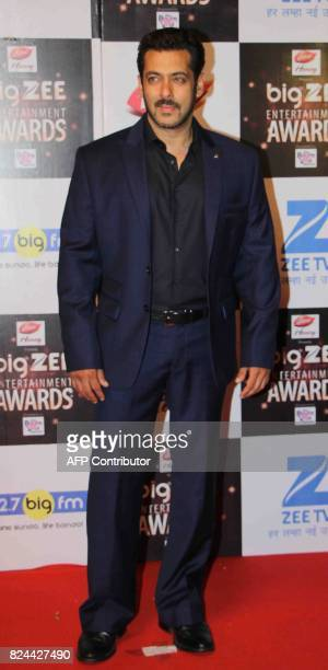 In this photograph taken on July 29 Indian Bollywood actor Salman Khan attends the BIG ZEE Entertainment Awards 2017 ceremony in Mumbai / AFP PHOTO /...