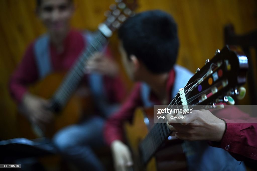 In this photograph taken on July 30 Afghan music student