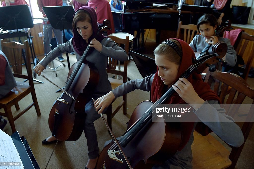 In this photograph taken on July 30 Afghan music students play