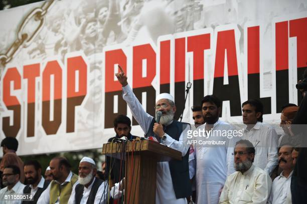 In this photograph taken on July 9 2017 SirajulHaq ameer of JamaateIslami party gestures during a rally to mark the first anniversary of the death of...