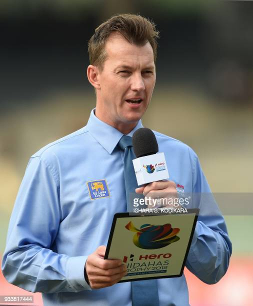 In this photograph taken on March 16 former Australian cricketer Brett Lee gives some TV commentary during the sixth Twenty20 international cricket...
