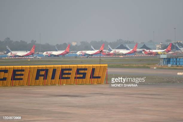 In this photograph taken on March 2 aircrafts of SpiceJet airline are seen at Indira Gandhi International airport in New Delhi