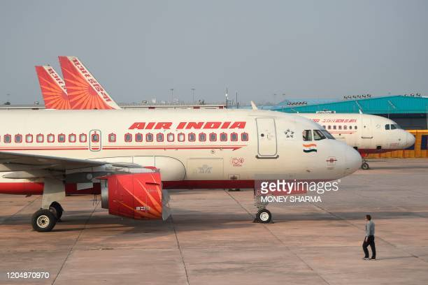 In this photograph taken on March 2 an Air India plane is parked at Indira Gandhi International airport in New Delhi
