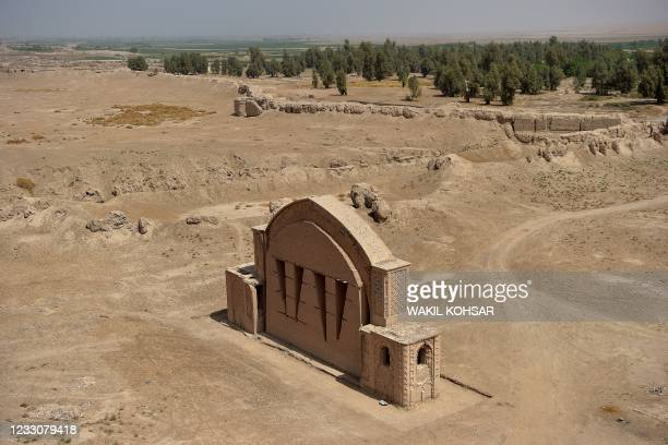 In this photograph taken on March 27 a general view of the historic fortress of Qala-e-Bost is seen in Bost on the outskirts of Lashkar Gah, Helmand...