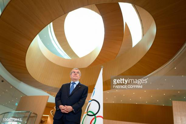 In this photograph taken on March 3, 2020 International Olympic Committee President Thomas Bach delivers a statement on the COVID-19 situation during...
