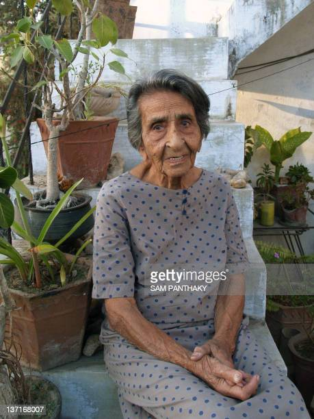 In this photograph taken on March 6 Homai Vyarawalla India's first female photojournalist poses for a portrait at her residence in Vadodara some 110...
