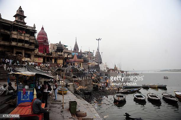In this photograph taken on May 10 shows a general view of the country's largest cremation site, Manikarnika Ghat, on the River Ganges in Varanasi....