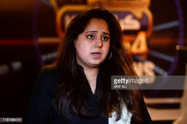 In this photograph taken on May 21 Syeda Maria Naseer producer of Pakistani reality show Idea Croron Ka speaks during an interview with AFP in Lahore...