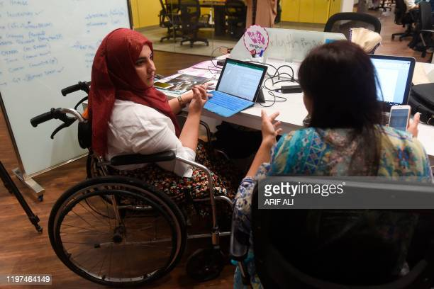 In this photograph taken on May 24 Tanzila Khan founder of 'Girly Things' an applicationbased startup which provides delivery service for women...