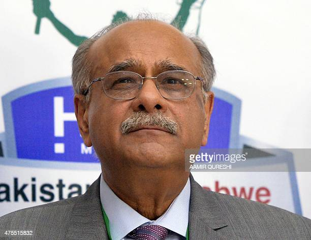 In this photograph taken on May 31 former Pakistan cricket chief Najam Sethi looks on while attending a closing ceremomy at the end of the third and...