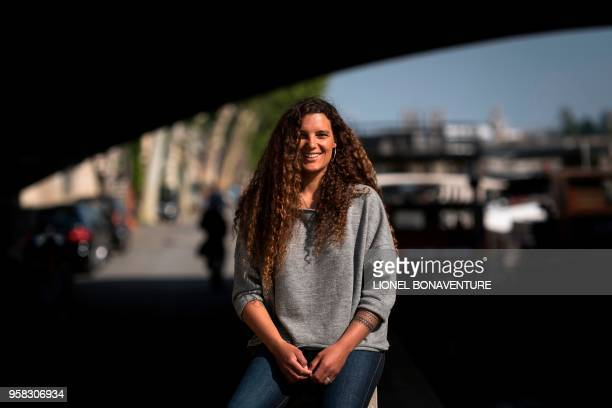 In this photograph taken on May 4 French round the world sailor Marie Tabarly poses during a photo session on the banks of the River Seine in Paris.