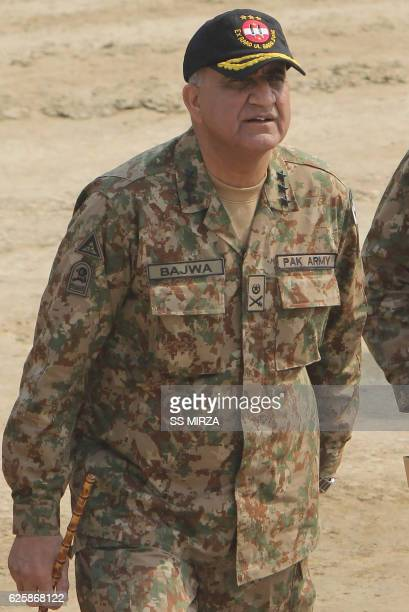 In this photograph taken on November 16 Pakistani Army General Qamar Javed Bajwa arrives to attend a military exercise on the Indian border in...