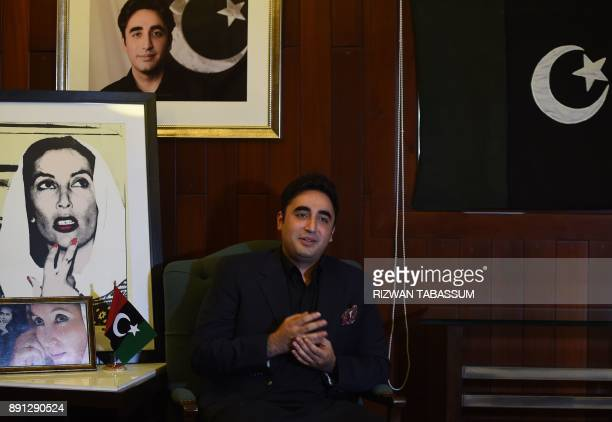 In this photograph taken on November 18 Chairman of the Pakistan Peoples Party Bilawal Bhutto Zardari speaks during an interview with AFP at his home...