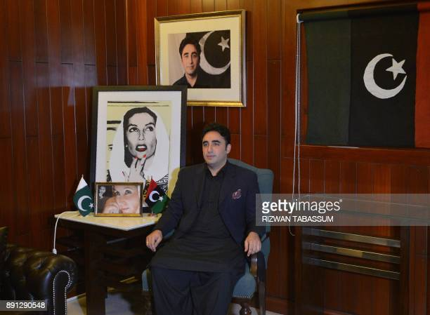 In this photograph taken on November 18 Chairman of the Pakistan Peoples Party Bilawal Bhutto Zardari looks on during an interview with AFP at his...