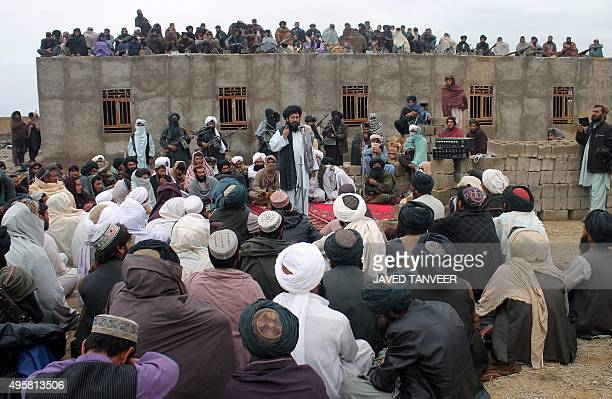 In this photograph taken on November 3 Mullah Mohammad Rasool Akhund the newly appointed leader of a breakaway faction of the Taliban addresses a...
