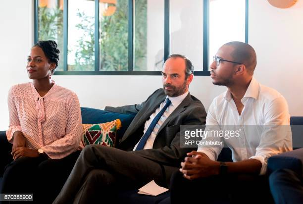 In this photograph taken on November 4 French Prime Minister Edouard Phillipe listens during a presentation by The Lumina Association at 'le cozy'...