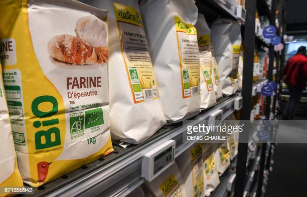 In this photograph taken on November 7 organic products are displayed in an Auchan 'Bio' supermarket on the outskirts of Lille in northern France...
