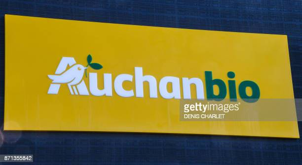 In this photograph taken on November 7 shows the sign of an Auchan 'Bio' supermarket stocking organic products on the outskirts of Lille in northern...