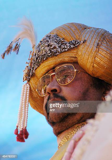 In this photograph taken on October 1 the scion of the Mysore royal family Srikantadatta Narasimharaja Wodeyar watches an unseen procession at the...