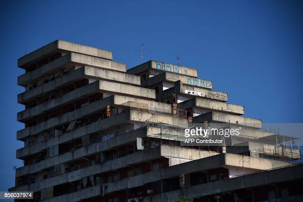 In this photograph taken on September 27 shows a general view of the building 'Le Vele' in Scampia on the outskirts of Naples Tucked away between...