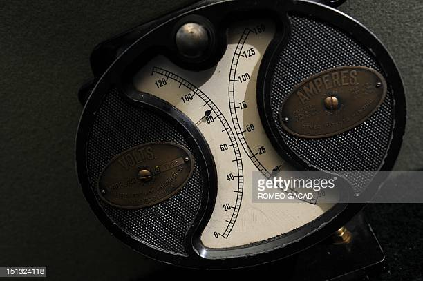 In this photograph taken on September 5 a detail of the voltage meter of a 1915 Detroit electric car owned by Bill Lloyd a retired Australian...