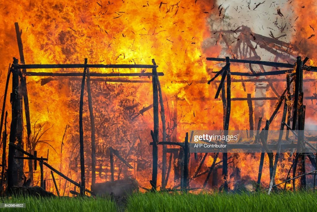 In this photograph taken on September 7, 2017, a house is engulfed by fire in Gawdu Tharya village near Maungdaw in Rakhine state in northern Myanmar. The wooden structure on fire was seen by journalists during a Myanmar government sponsored trip for media to the region. In the last two weeks alone 164,000 mostly Rohingya civilians have fled to Bangladesh, overwhelming refugee camps that were already bursting at the seams and scores more have died trying to flee the fighting in Myanmar's Rakhine state, where witnesses say entire villages have been burned since Rohingya militants launched a series of coordinated attacks on August 25, prompting a military-led crackdown. /