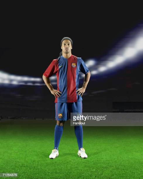 In this photomontage handout image provided by Nike Ronaldinho of FC Barcelona reveals the new home kit for the 2005/06 season on June 21 2006 in...