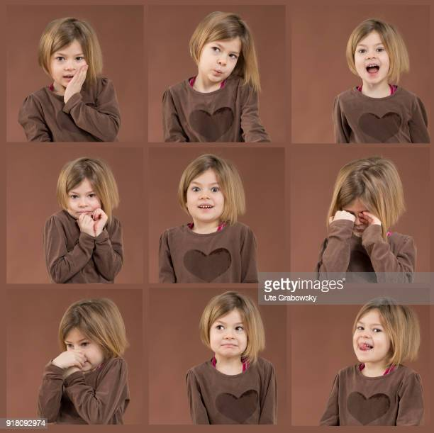 In this picture combo a Fiveyear old girl shows different emotions on February 05 2018 in Bonn Germany