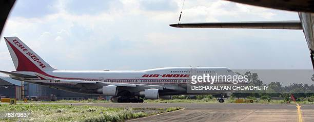 In this picture taken 28 September 2007 An Air India aeroplane prepares for takeoff from Netaji Subhash Chandra Bose Airport in Kolkata India's...