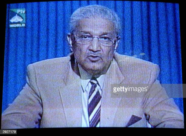 In this picture taken from Pakistan State Television Abdul Qadeer Khan reads a statement to the nation in Islamabad 04 February 2004 The founder of...