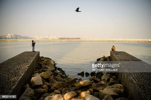 In this picture taken in Macau on December 6 a bird flies over two men taking photos and fishing in front of a view of the Zhuhai border and a road...