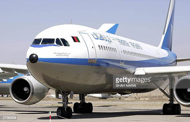 In this picture taken on 08 August 2003 an Airbus 300/B4 aircraft of Ariana Airlines on the tarmac at Kabul Internaional Air Port Afghanistan's...