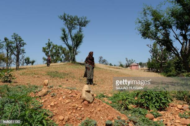In this picture taken on April 17 Indian Kashmiri nomad women stand near the grave of the eightyearold girl who was raped and murdered at Koota...
