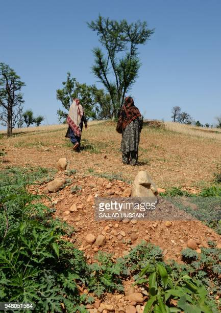In this picture taken on April 17 Indian Kashmiri nomad women walk near the grave of the eightyearold girl who was raped and murdered at Koota Khanna...