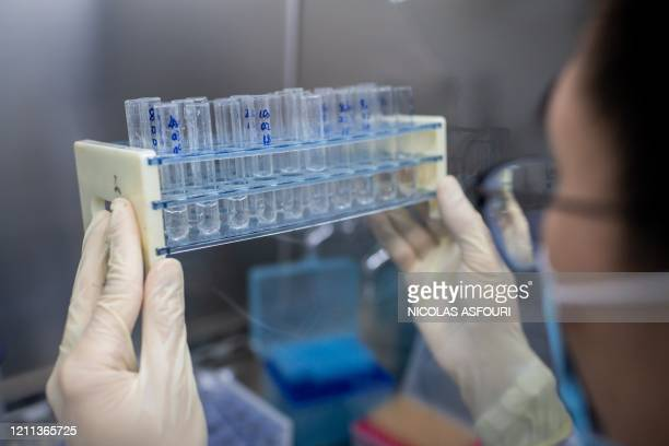 In this picture taken on April 29 an engineer works at the Quality Control Laboratory on an experimental vaccine for the COVID-19 coronavirus at the...