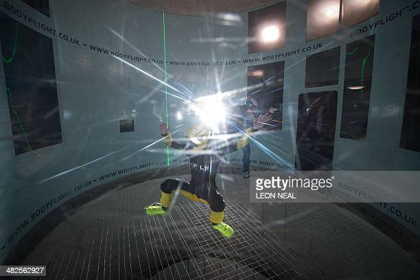 In this picture taken on April 3 competitors take part in a training session ahead of the Bodyflight World Challenge the worlds largest indoor...