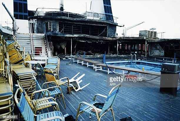 In this picture taken on April 9 1990 shows the fire damaged interior of the ferry Scandanavian Star as it sits in dock in Lysekil two days after it...