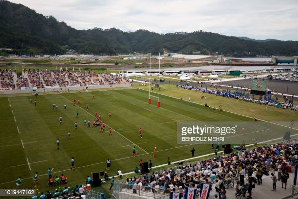 In this picture taken on August 19 2018 the Kamaishi Seawaves and Yamaha Jubilo rugby clubs play a memorial match during the opening ceremony of one...