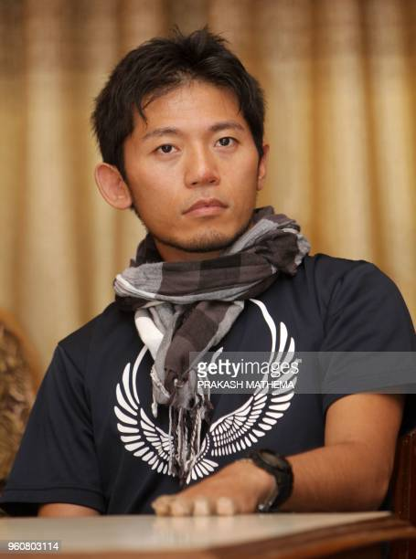 In this picture taken on August 23 2015 Japanese climber Nobukazu Kuriki attends an event where he accepted a permit to climb Mount Everest in...