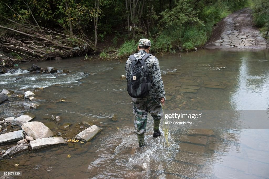 In this picture taken on August 24, 2017, Liang Fengen, a ranger at the Nuanquan River Forestry Centre, crosses a river as he surveys an area in Suiyang town, Mudanjiang municipality. In the northern mountains bordering Russia, everyone knew the spry Chinese man as a skilled and ruthless hunter -- the kind who once killed a mother black bear as her cubs looked on. But instead of stalking the woods for prey, Liang Fengen now roams the hills without a rifle, working as a ranger to save the area's endangered Siberian tiger population and protect other wildlife. / AFP PHOTO / Nicolas ASFOURI / TO GO WITH China-conservation-animal, FEATURE by Yanan WANG