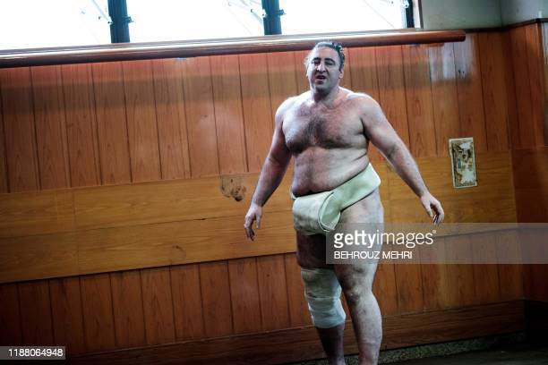 In this picture taken on August 28 Georgiaborn sumo wrestler Levan Gorgadze known by his Japanese wrestling name of Tsuyoshi Tochinoshin takes a...