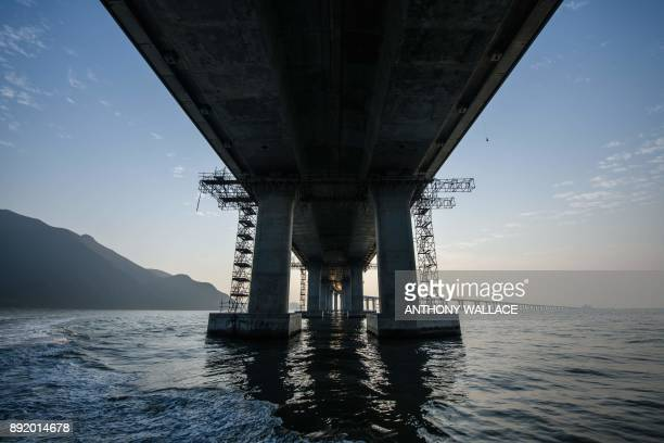 In this picture taken on December 11 a general view shows a section of the Hong KongZhuhaiMacau Bridge in Hong Kong Billed as the world's longest sea...