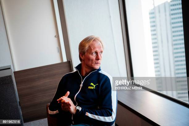 In this picture taken on December 13 North Korea national football team's head coach Jorn Andersen from Norway waits for an interview with AFP at a...